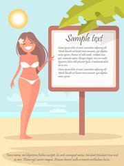 Pretty beach girl near the poster information. Vector illustration