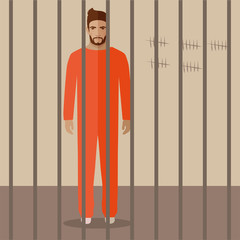 cartoon prisoner, flat vector illustration of prison cell