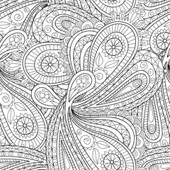 Doodle black and white abstract hand-drawn background. Paisley  seamless pattern.