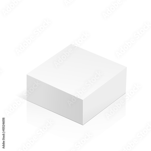 White realistic 3D box. Object isolated on white background ...