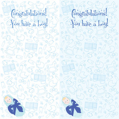 Postcard. Congratulations! You have a boy. Little newborn baby boy. Baby in cradle with blue bow.