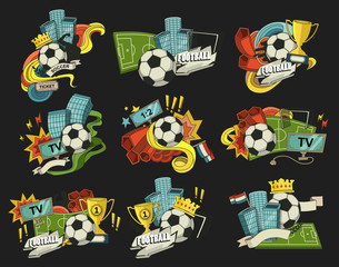 Football vector illustration. Set of sports elements for banner, brochure, brochures. Illustration composed of fan, ball, gate, football field.