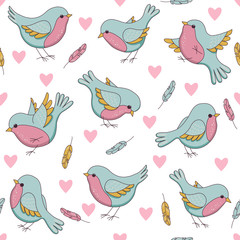 Vector seamless easter pattern with birds, hearts and feathers.