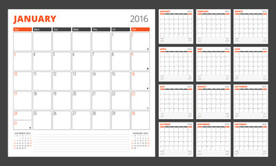 Calendar Planner for 2016 Year. Set of 12 Months. Design Print Template with Place for Photos and Notes. Week Starts Sunday. Stationery Design
