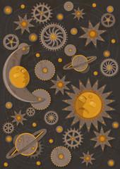 Illustration of dynamical (gravitational) astronomy or celestial mechanics