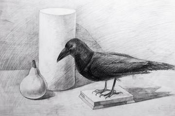 Stuffed raven, cylinder and pear painted black pencil