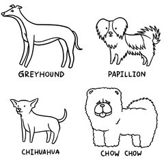 vector set of dogs