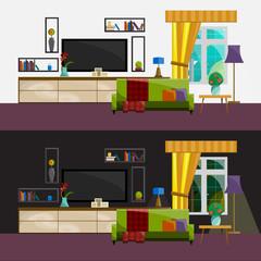 Living room Interior. Modern flat design illustration