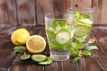 water detox with cucumber and lemon