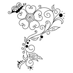 Black vector hand drawn doodle flower
