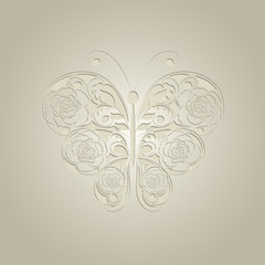 Paper butterfly on beige background.