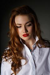 Lovely girl in a white men's shirt