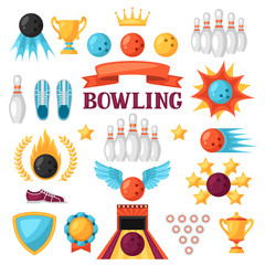 Set of bowling game items. Objects for decoration, design on advertising booklets, banners, flayers