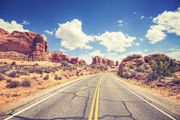 Retro stylized scenic road, Arches National Park, USA