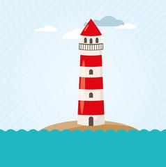Leuchtturm an Küste Vektor