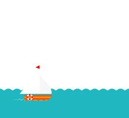 Segelboot auf Wasser Vektor