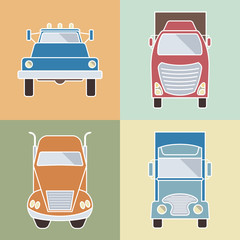 Set of elements cargo transportation. Lorry icons. Vector illustration