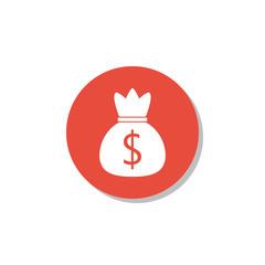Money icon, on white background, red circle border, white outline