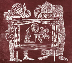 Actors and puppets. Woodcut