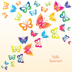 Abstract Template with Butterflies for Fashion and Postcard.