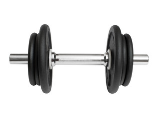 sports metal dumbbell on a white background