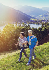 sportive seniors nordic walking on a sunny day