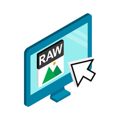 RAW image file extension icon, isometric 3d style