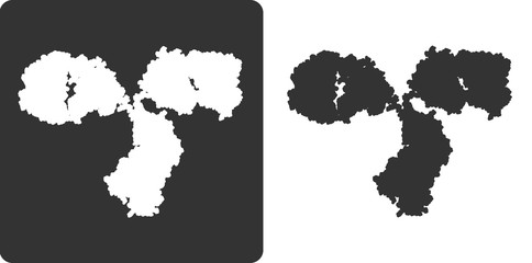 Antibody molecule, flat icon style. stylized silhouette.