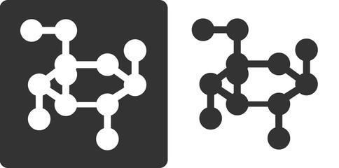 Glucose sugar molecule, flat icon style.