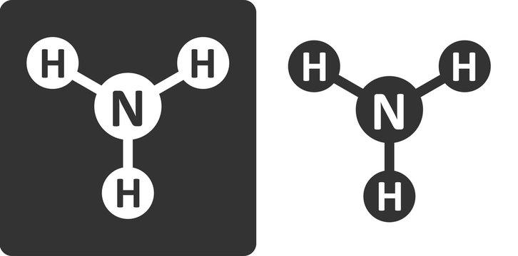Ammonia (NH3) molecule, flat icon style.