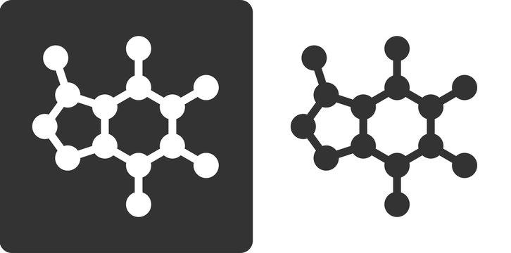 Caffeine molecule, , flat icon style. Stylized rendering.