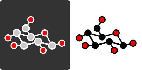 Sugar (glucose, beta-D-glucose) molecule, flat icon style.