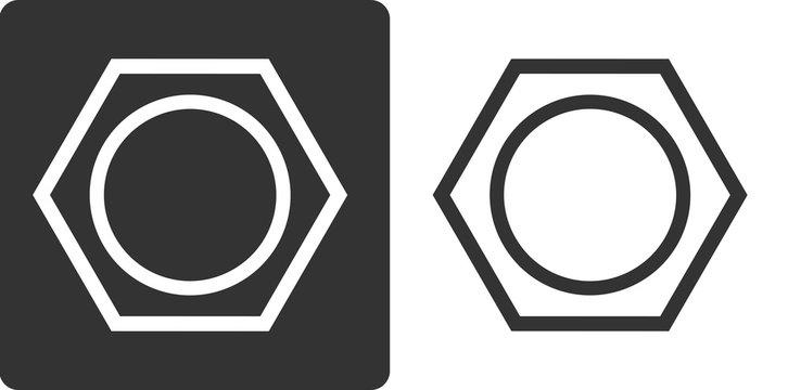 Benzene (C6H6) aromatic hydrocarbon molecule, flat icon style.