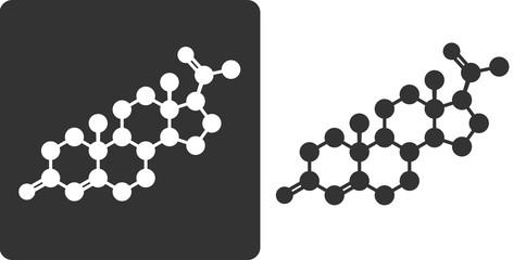Progesterone female sex hormone molecule, flat icon style.