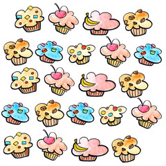 Cute cartoon hand drawn watercolor muffin