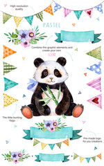 Happy Birthday collection!Pattern with individual elements for your own design:flowers,bunting flags,cute panda,bouquets,garlands,ribbons,Perfect for birthday cards,mother's day,baby cards,invitation