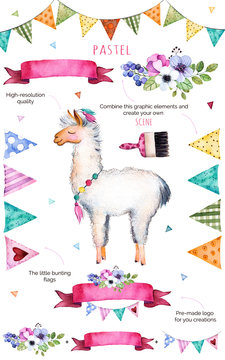 Happy Birthday collection!Pattern with individual elements for your own design:flowers,bunting flags,cute llama,bouquets,garlands,ribbons,Perfect for birthday cards,mother's day,baby cards,invitation