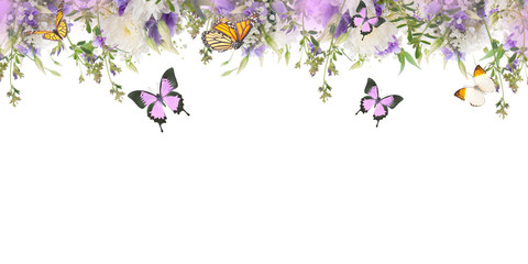 Wall Mural - Bridal bouquet from white and pink flowers, butterfly