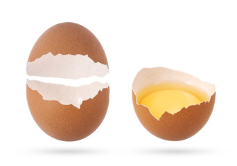 Eggshell and broken empty egg isolated on white background.