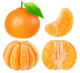 Collection of isolated tangerine pieces