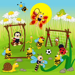 insect playing in the playground - vector illustration, eps