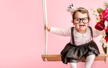 Portrait of a cute toddler wearing glasses
