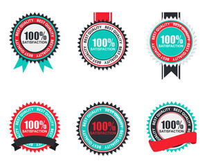 Vector 100% Satisfaction Quality Label Set in Flat Modern Design