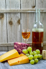 Mixed cheese, marble cheddar, green grape and sweet liqueur wine