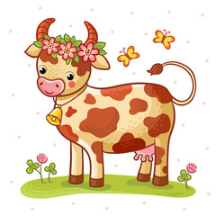 Vector illustration. Cartoon cow that stands on a lawn with flowers and butterflies.