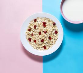 Cereals,cranberries and milk plates