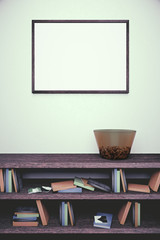 Blank frame and dark wooden bookshelf