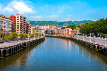 Bilbao city downtown with a Nevion River