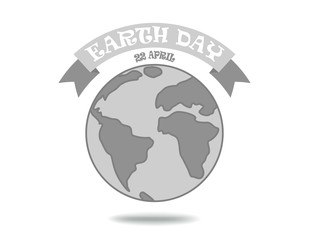 Earth day - monochrome poster with earth globe and ribbon. Vector illustration.