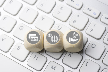 Business e-commerce icon on computer keyboard button